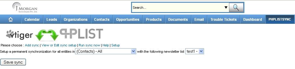 vtiger phplist add sync